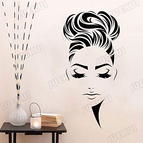 Hairstyle Girl Face Makeup Sticker Stickers murali Salone di Bellezza Windows Art Murales Adesivi murali in Vinile per Soggiorno 57X118cm Giallo