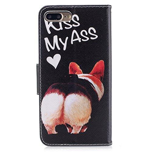 iPhone 7 Plus Coque, Voguecase Étui en cuir synthétique chic avec fonction support pratique pour Apple iPhone 7 Plus 5.5 (Hibou)de Gratuit stylet l'écran aléatoire universelle Kiss My Ass