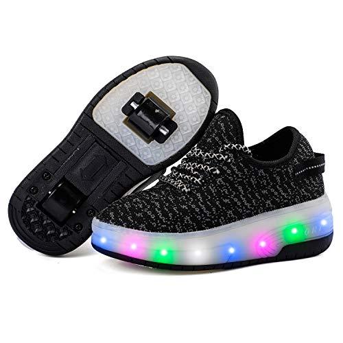 Homesave Skateboard Schuhe Kinderschuhe mit Rollen LED Skate Schuhe Roller Skate Shoes Rollen Schuhe mit Rollen Kinder Jungen Mädchen,Black,38EU Mädchen-skate-schuhe
