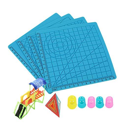 ZTGHS 4Pcs 3D Druck Feder Silikon Matte, Gekritzel Pad Mit Geometrischem Grunde Schablone Multi-Purpose Entwurfs Silikon Finger Caps Für 3D Pen Zeichnung Stencils 3D Pen Zeichenwerkzeug