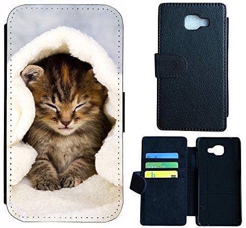 Flip Cover Schutz Hülle Handy Tasche Etui Case Wico für (Microsoft Lumia 550, 1003 Katze Katzen Baby Braun Blau Weiß)