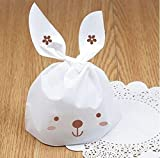 Yunko 50 PCS Cute Rabbit OPP Cookie Bakery Candy Biscuit Treat Gift DIY Plastic Bag by YunKo