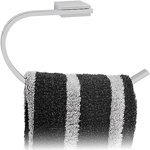 Kretschmann Handtuchhalter Edelstahl Chrom - Bad WC Design Handtuchstange Hochwertig glaenzend verchromt, Wandmontage, 1