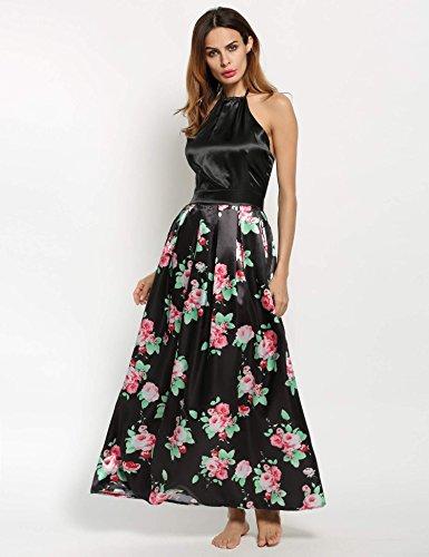 ZEARO Robe Femme sexy Robe de Soirée Robe de Cocktail Dos Nu Robe Floral Elegante Noir