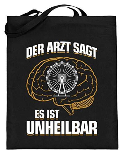 shirt-o-magic Oktoberfest: Es ist unheilbar - Jutebeutel (mit langen Henkeln) -38cm-42cm-Schwarz (Einheit Kostüm Arzt)