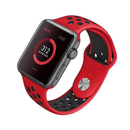 [Style A] Yincol Apple Watch Armband Series 1 Series 2, Fashion Weiches Silikon Sportarmband Ersatzarmband Wrist Band für iwatch 1 iwatch 2 Uhr Verstellbar (Rot, 42mm M/L)