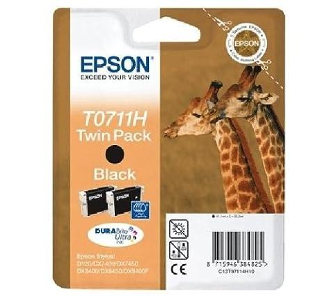 Epson Tintenpatrone T0711H Giraffe, Doppelpack Schwarz