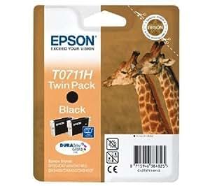 Epson T0711 H Cartouche d'encre d'origine DURABrite Paquet Double Ultra Noire
