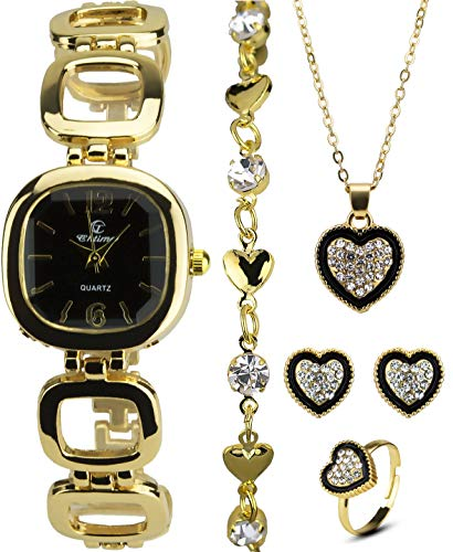 Geschenkset Damen Armbanduhr Schwarz - Schmuck Set- Halskette-Ring- Ohrringe - Armband