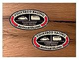 MG351 / 2X Racing Aufkleber je 9 x 5,5 cm Racing V8 USA Sticker Oldtimer Oldschool Vintage Retro Rat Rost Hot Rod