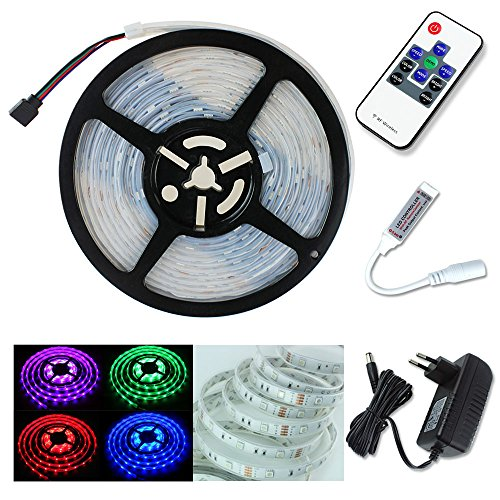 PMS® Tira de Luz impermeable 5m LED 5050 SMD 150 LEDs Strip + RF remoto controlador + Fuente de alimentación (RGB-150 LEDs)