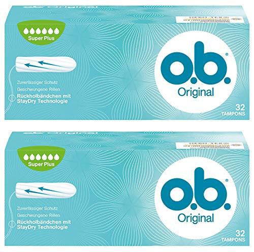 Plus Tampons (o.b. Original Super Plus Tampons mit geschwungenen Rillen - Für zuverlässigen Schutz ideal für sehr starke Tage - 2 x 32er Pack)