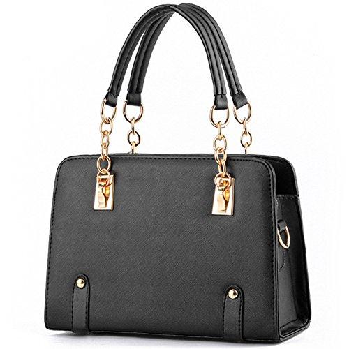 fanhappygo Fashion Retro Leder Kreuzmuster Kette Handtaschen Abendtaschen Damen Schulterbeutel Umhängetaschen Schwarz