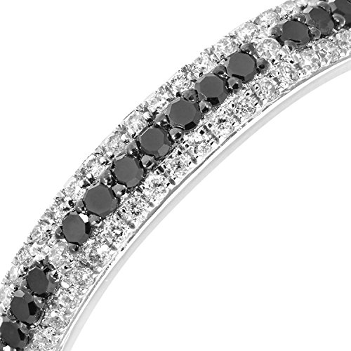 Naava Women's 9 ct White Gold Round 0.33 ct Black and White Diamond Eternity Ring