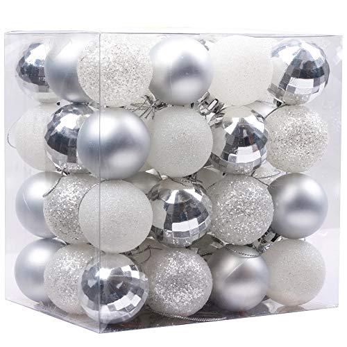 Victor's workshop palline di natale christmas baubles 48 pezzi decorazioni natalizie in plastica da 4 cm, decorazioni natalizie decorazioni natalizie invernali ghiacciate argento bianco