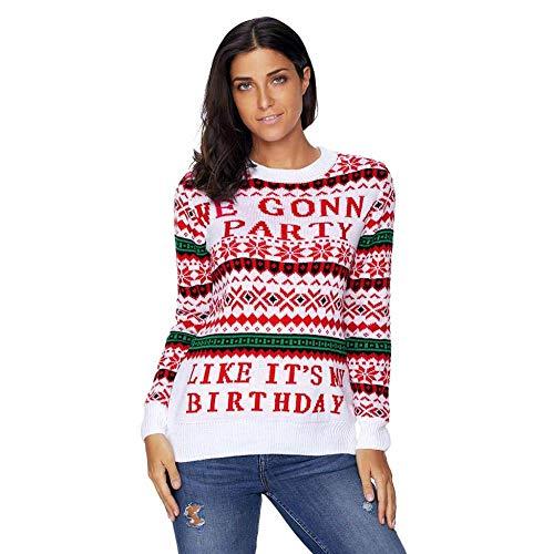 (KAIDILA Weiß We Gonna Partei hässliche Weihnachts Pullover Weihnachten Runde Hals Langarm Brief Print Motiv Pullover Wolle Sweatshi RT Casual Pullover)