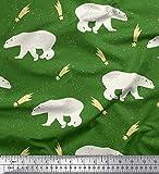 Soimoi Grun Samt Stoff Sternschnuppe & Eisbär Tier Dekor Stoff gedruckt 1 Meter 58 Zoll breit