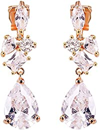 BiBeary Women Zirconia CZ butterfly Austrian Crystal Drop Fishhook Earrings AB clear silver-tone