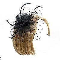 Minzhi Women Flower Feather Net Hat Mini Hair Clip for Wedding Party Banquet