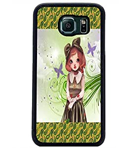 PrintDhaba Cute Girl D-2472 Back Case Cover for SAMSUNG GALAXY S6 (Multi-Coloured)