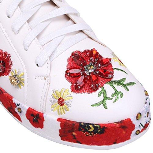 La Modeuse Baskets Simili Cuir à Détails Fleuris Blanc