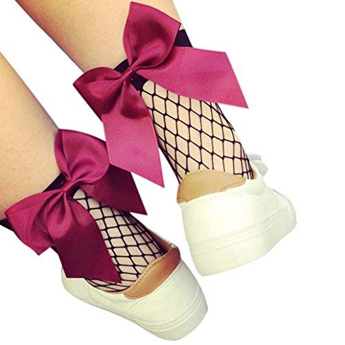OYSOHE Frauen Rüsche Fischnetz Knöchel Hohe Socken Mesh Spitze Fisch Netz Kurze Socken (Heißes Rosa) (Mutterschaft Spandex-leggings)