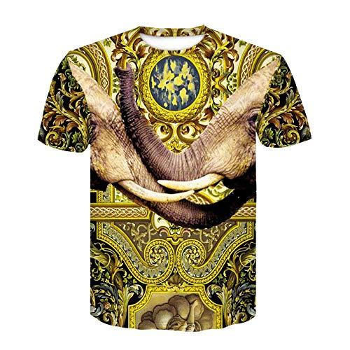 Camiseta Hombres Nariz De Elefante 3D Digital Imprimen Camisetas Unisex Camisetas De Manga Corta Casual Hipster Camisas De Cuello Redondo Deportivas Sport tee para Hombres,XL
