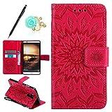 Uposao Custodia Compatibile con Huawei Mate 7,Fiore del Sole Modello PU Pelle Flip Case Portafoglio Protettiva Caso con [Kickstand] [Slot per Schede] [Magnetico Chiusura] Cover,#7