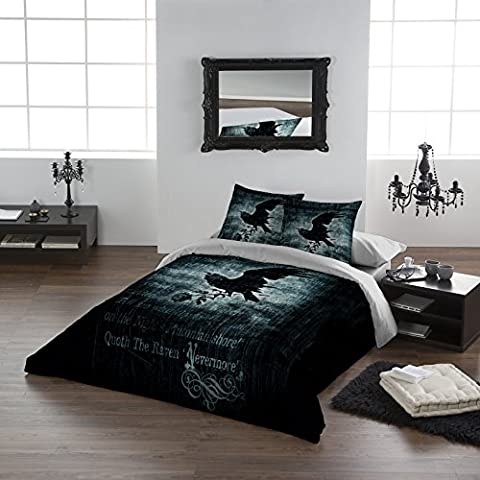 NEVERMORE Double Size Bed Duvet Cover & Pillowcase Set by Alchemy Gothic