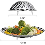 Mk Stainless Steel Vegetable Steamer, Pasta Steamer, Folding Collapsible Basket - Silver