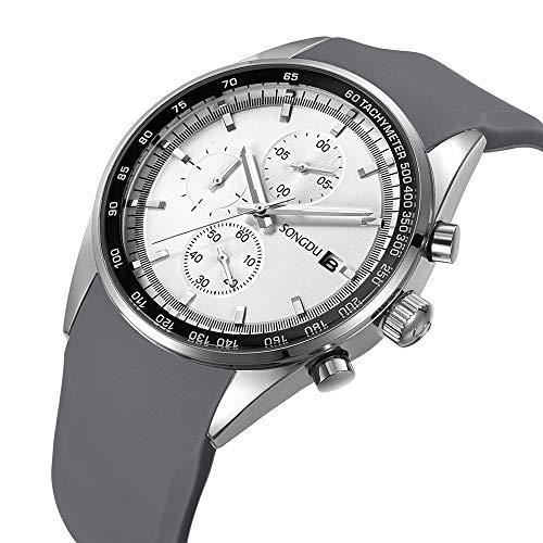 SONGDU Herren Mode Analoge Quarz Uhr Chronograph Armbanduhr Edelstahl Zifferblatt Silikon Band (weiß)