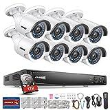 Annke Überwachungssystem PoE 1080P HD 8CH NVR Videoüberwachung mit 8 x 1080P IP Überwachungskameras Plus 1TB Festplatte kompatibel mit IP Kamera Onvif Kamera