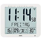 AMS - Wanduhr Tischuhr Funk Funkwanduhr digital weiß Datum Thermometer Wecker