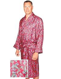 Robe de Chambre en Soie - Paisley Rouge / Bleu - Homme - Peignoir
