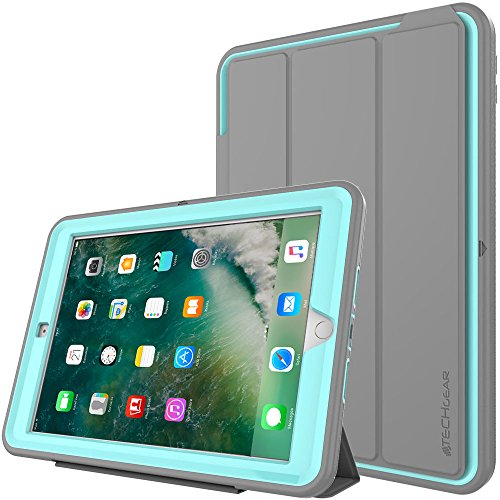 TECHGEAR D-Fence Koffer für Apple iPad 9.7 Zoll (2018/2017) - Schlanker, schlagfester, robuster Schutzanzug Rüstung Defence Smart Fall - Kinder Schulen Builders Workman Schale - Grau/Hell Blau