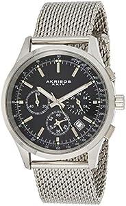 Akribos XXIV Men's Chronograph Tachymeter Scale Watch - Stainless Steel Mesh Brac
