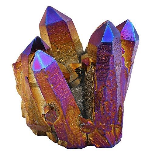 Mookaitedecor - cristalli decorativi per la casa (quarzo irregolare / geode / drusa). pietre e cristalli con proprietà energetiche, pietra, 02-violet & or(60-80mm)