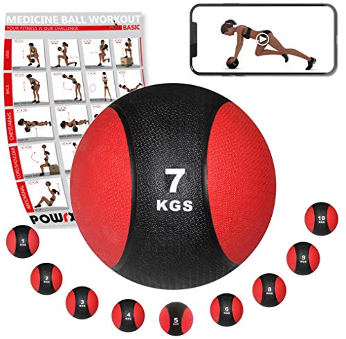 POWRX - Balón Medicinal 7 kg + PDF Workout Negro/Rojo