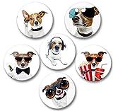 Merchandise for Fans Lustiger Hund als James Bond mit Popcorn und weitere - 6 große Kühlschrankmagnete Ø 5 cm [ 01 ]
