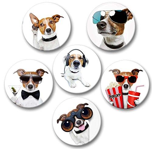 Lustiger Hund als James Bond mit Popcorn und weitere - 6 große Kühlschrankmagnete Ø 5 cm [ 01 ] ()