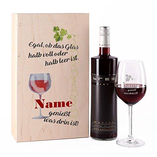 Preisvergleich Produktbild Leonardo Weinglas inklusive Namensgravur mit Bree Rotwein in Geschenkverpackung mit Wunschnamen