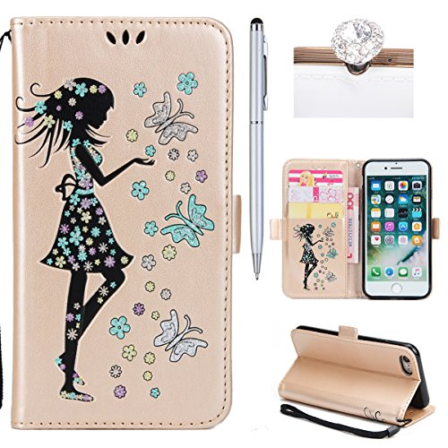 iPhone 7 Coque Dragonne Portefeuille PU Cuir Etui,iPhone 7 Coque Ultra Fine,iPhone 7 Etui Cuir Folio Housse PU Leather Case Wallet Flip Protective Cover Etui [PU Cuir et TPU Silicone Inner Case] Porte Fille Or