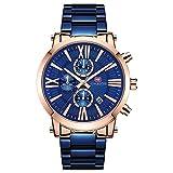 QRMH Hombres Reloj de Acero Inoxidable Europeo y Estilo Americano Gran dial Escala Romana cinturón de Acero Reloj de los Hombres Impermeable Calendario Luminoso Reloj