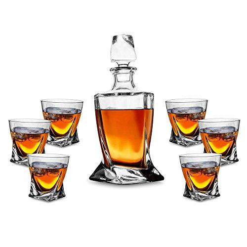 Kanars 7 Teiliges Twist Whisky Set 750ml Dekanter 6 X 300ml Whiskybecher Hochwertige Qualitt Splmaschinentauglicher