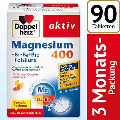 Folsäure B6 Vitamine (Doppelherz Magnesium 400 Brausetabletten + B1 + B6 + B12 + Folsäure / Magnesium zur Unterstützung der normalen Muskelfunktion / 1 x 90 Brausetabletten)