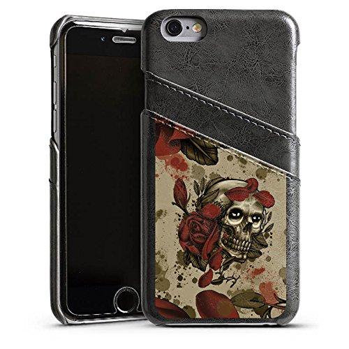 Apple iPhone 5 Housse étui coque protection Tatouage Rock n Roll Tête de mort Étui en cuir gris