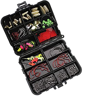 GossipBoy 128Pcs/Set Fishing Lures Set Or Fishing Lures Kit Contained Fishing Accessories Set With Saltwater Fishing Tackle Box Carp Catfish Freshwater Saltwater - Hooks,Swivels, Double Loops,Spinner from GossipBoy