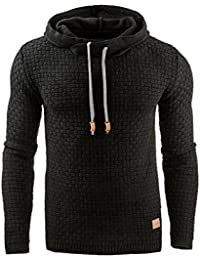 Emma Men's Autumn Winter Casual Warm Long Sleeve Funnel Neck Plaid Jacquard Pullover Hooded Top Thick Knitted Sports Sweatshirt Hoodies Jacket Outwear