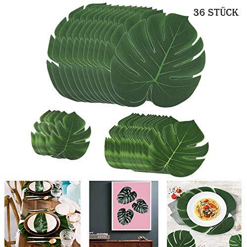 SUNANFBEST 36 Stück Tropische Blätter, Dschungel Deko Palmenblätter Dschungel Strand Thema Party Hochzeit Dekorationen Tischdekoration