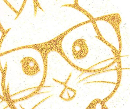 Bügelbild, Motiv: Hase mit Brille, Farbe: gold, Größe: 16x20,5cm, heißsiegelfähige Flexfolie mit Glitterpartikeln